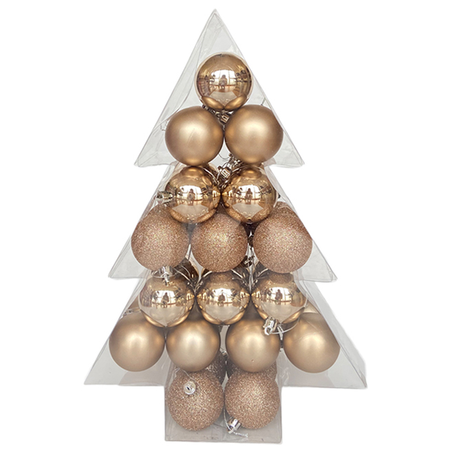 Holiday Living Christmas Balls - Rustic Tidings - Champagne - 34/Pack