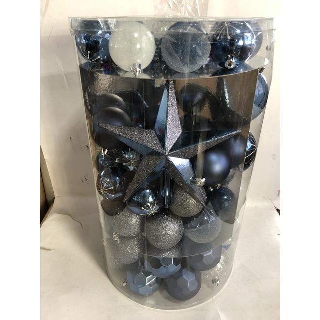 Boules de Noël mixtes Holiday Living, incassables, plastique, bleu/argent, paquet de 110