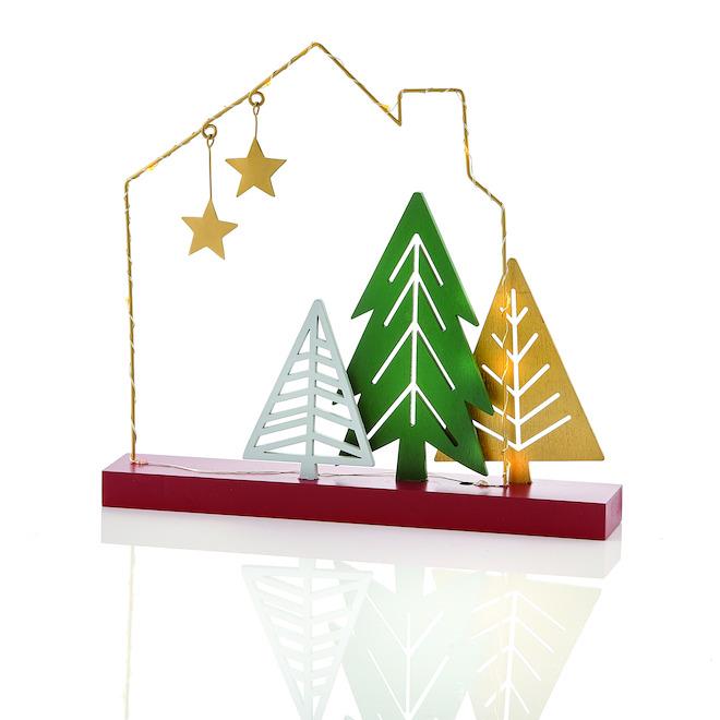 Décoration avec arbres Holiday Living avec lumière DEL jaune, multicolore, paquet de 1
