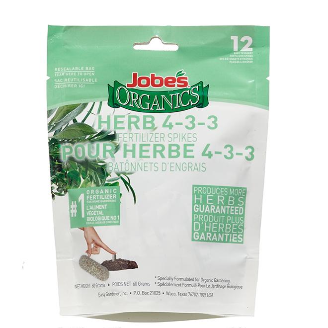Jobe's Organic Herb Spikes - 4-3-3 Nutrient Ratio - 60-g