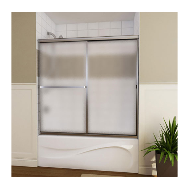 Maax Mika Sliding Bathtub Door - 54-59 1/2-in x 55 1/2-in - Hammered Glass - Mat Silver Finish