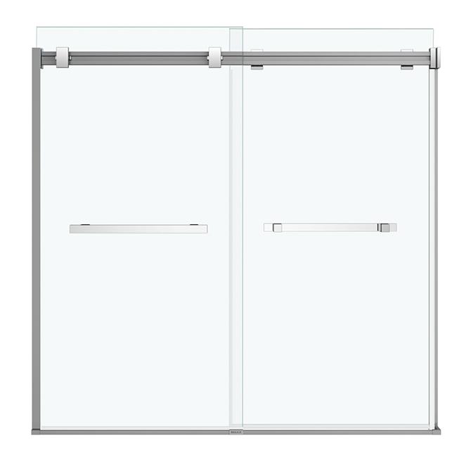Maax Duel Sliding Bathtub Door - 56-59-in x 55 1/2-in - Clear Glass - Chrome Finish