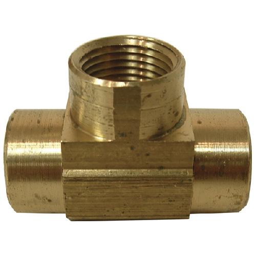 """T-Fitting - Brass - 1/4"""" x 1/4"""" x 1/4"""" - FIP x FIP x FIP"""