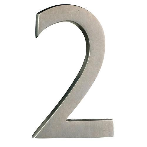 Taymor Modern Number 2 - 4-in - Solid Brass - Satin Nickel