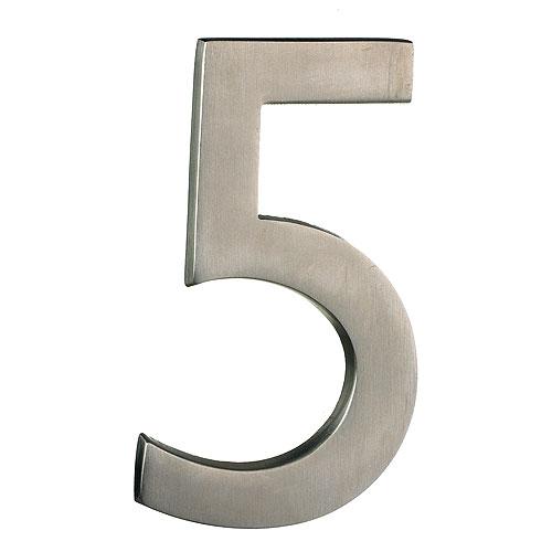 "Solid Brass Number - #5 - 4"" - Satin Nickel Finish"