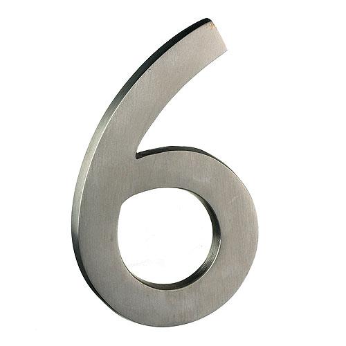 "Solid Brass Number - #6 - 4"" - Satin Nickel Finish"