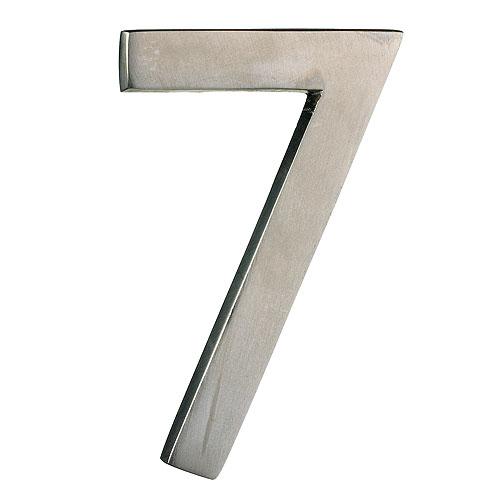 "Chiffre en laiton massif, #7, 4"", fini nickel satiné"