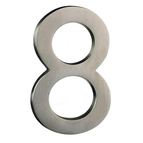Taymor Modern Number 8 - 4-in - Solid Brass - Satin Nickel