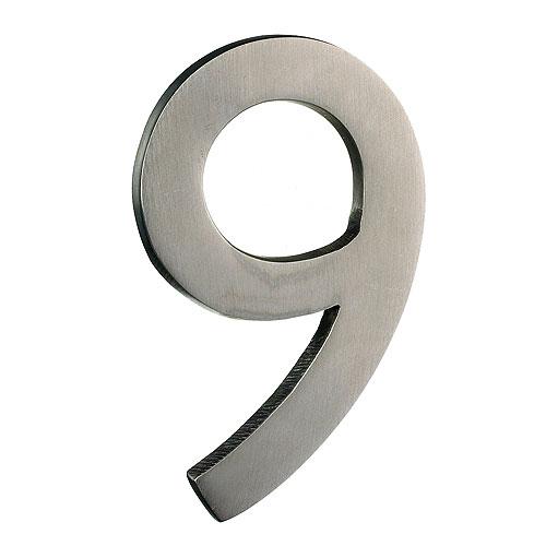 Taymor Modern Number 9 - 4-in - Solid Brass - Satin Nickel