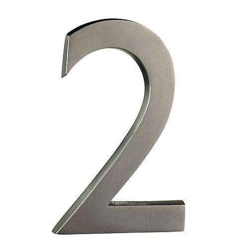 "Solid Brass Number - #2 - 6"" - Satin Nickel Finish"