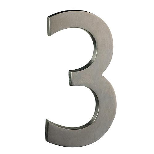 "Solid Brass Number - #3 - 6"" - Satin Nickel Finish"