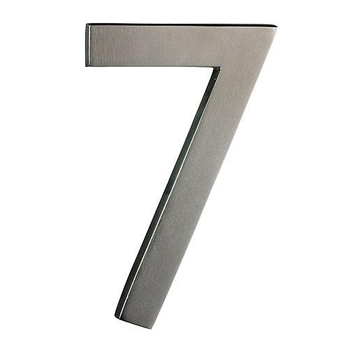 "Chiffre en laiton massif, #7, 6"", fini nickel satiné"