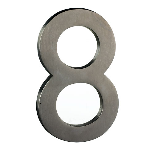 "Solid Brass Number - #8 - 6"" - Satin Nickel Finish"