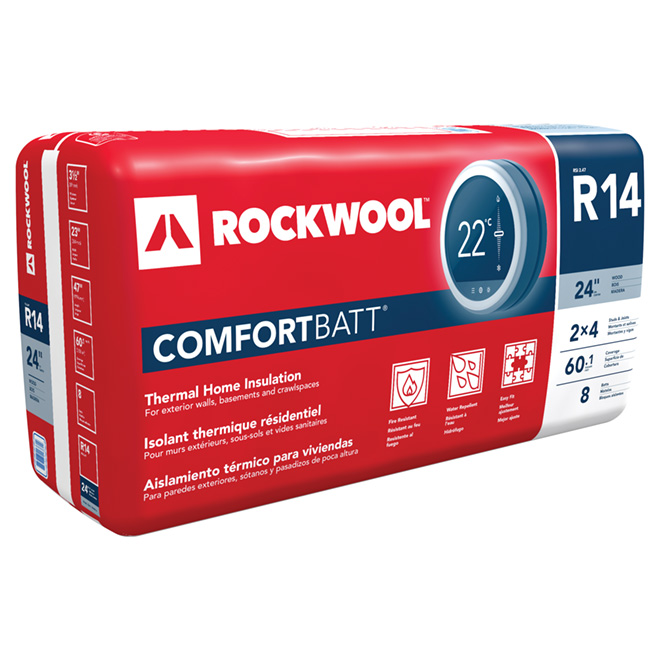 Rockwool ComfortBatt Insulation - Up to 60.1-sq. ft. - R14 - 8-pack