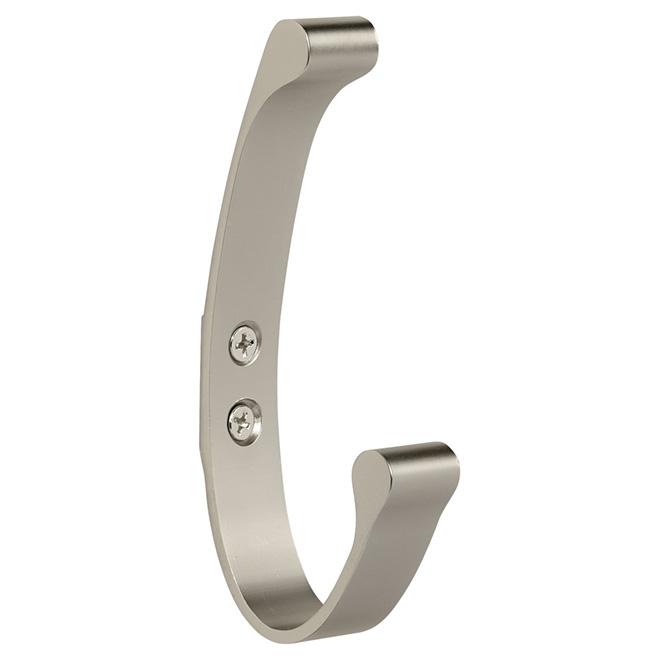 Double Hook - Aluminum - 12.7 cm - Brushed Nickel