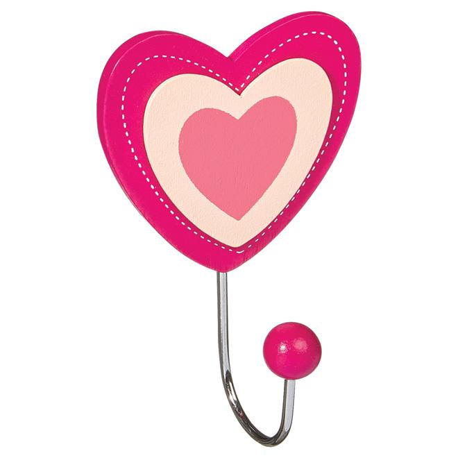 Crochet simple en coeur, métal, rose