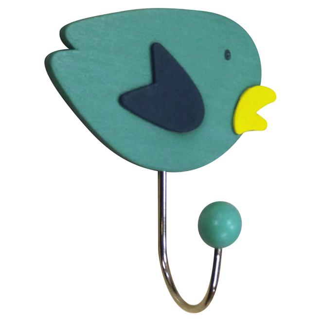 Crochet simple en oiseau, métal, bleu