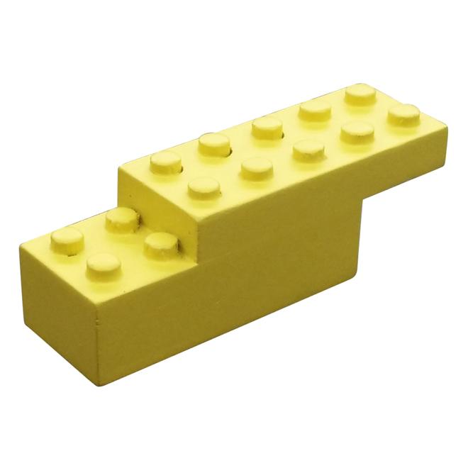 Crochet simple en bloc, bois, jaune
