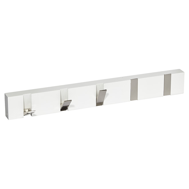 Wall-Mounted 5-Flip Hook Rack - White and Brushed Nickel
