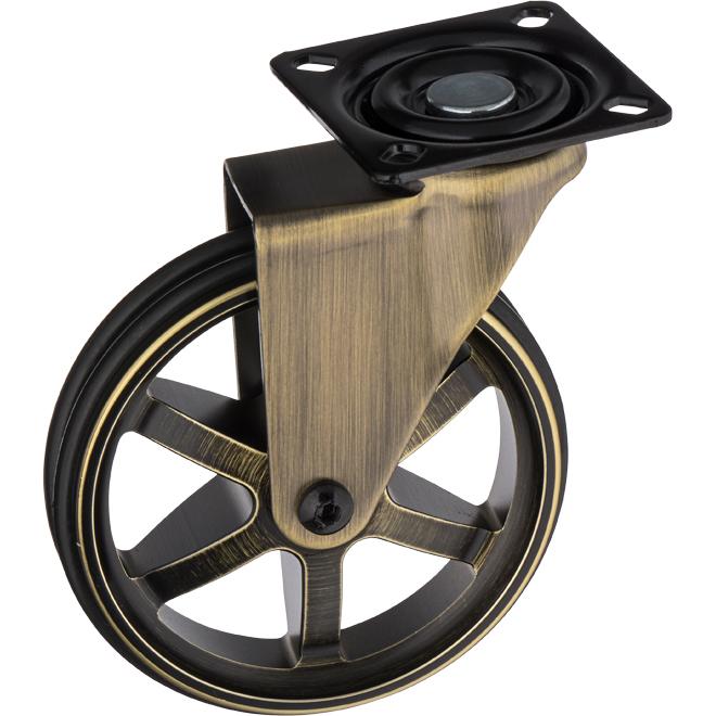 "Vintage Swivel No-Lock Caster - 4"" - Rustic Brass"