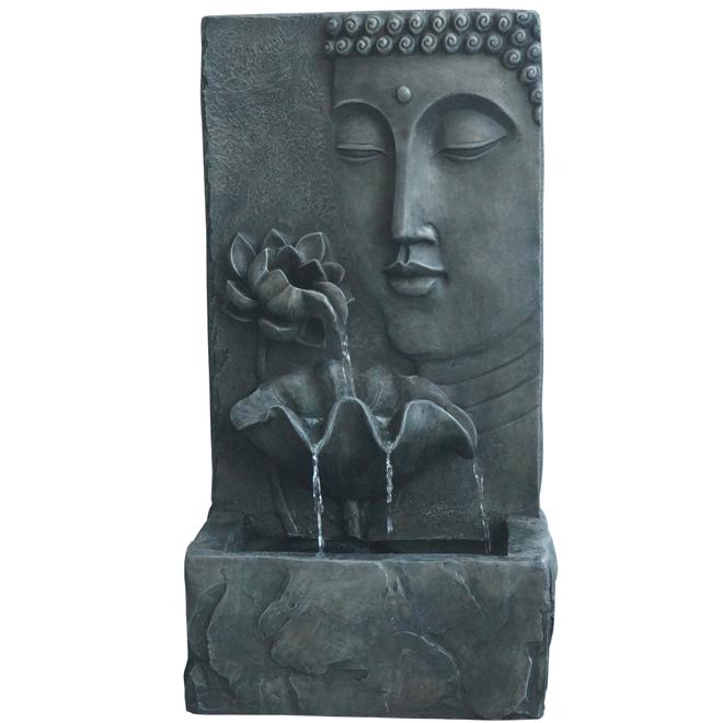 "Buddha Water Fountain with Pump - 30"" - Grey"