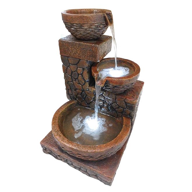 Fontaine à 3 niveaux Angelo Decor, lumières DEL, ciment, 23 po, brun