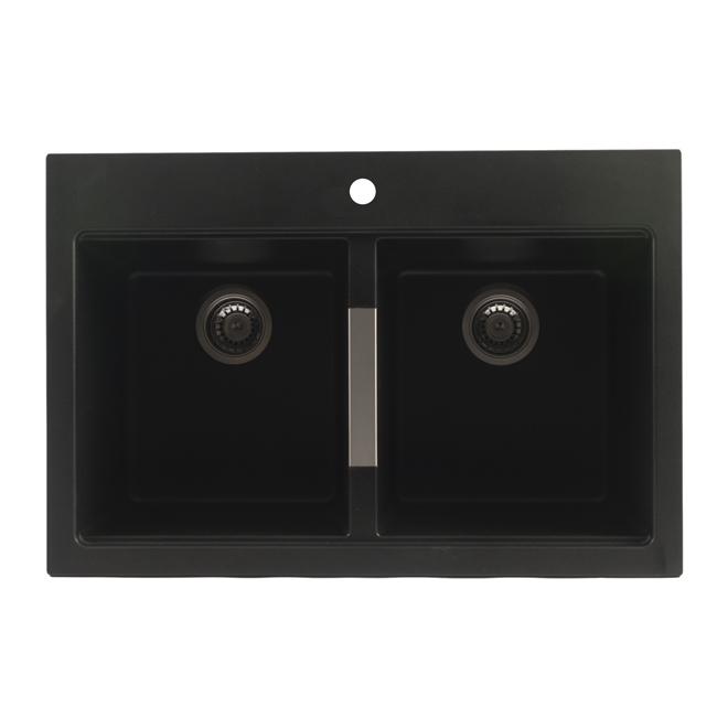 Évier de cuisine double, noir métallique