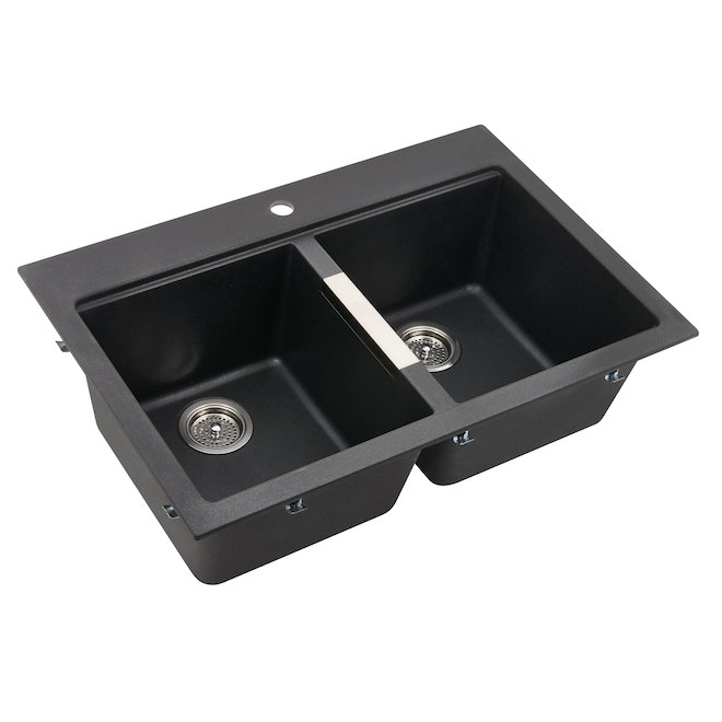 Composite Granite Double Kitchen Sink - Black
