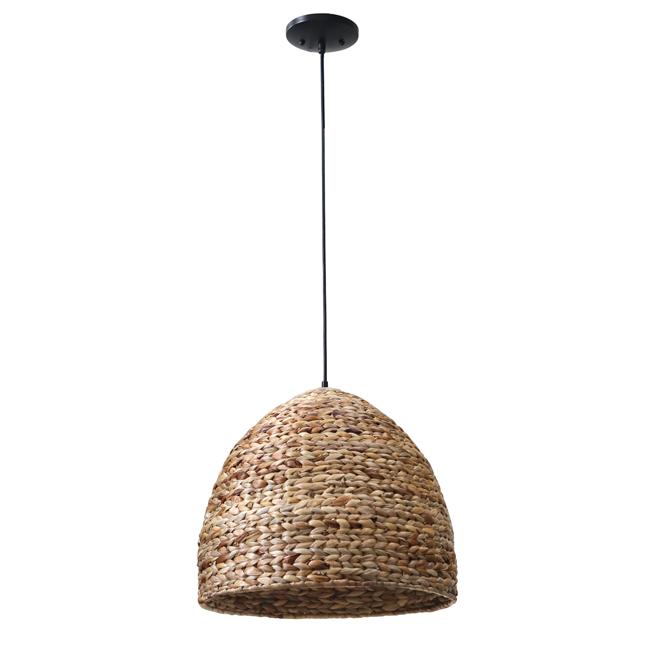 """Suspension 1 lumière, dôme, 18"""" x 16"""", métal/bambou"""