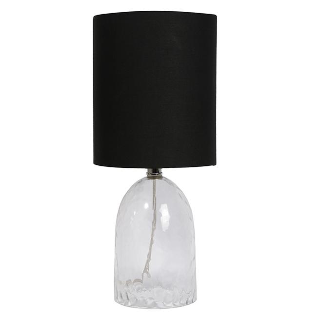 Lampe de table Uberhaus, 8 po x 18,25 po, noir et transparent