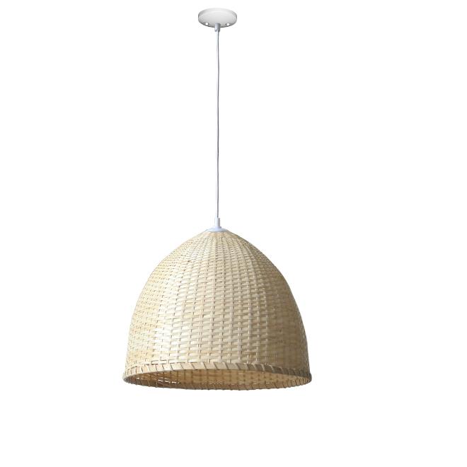 Suspension à 1 lumière, dôme, métal/bambou