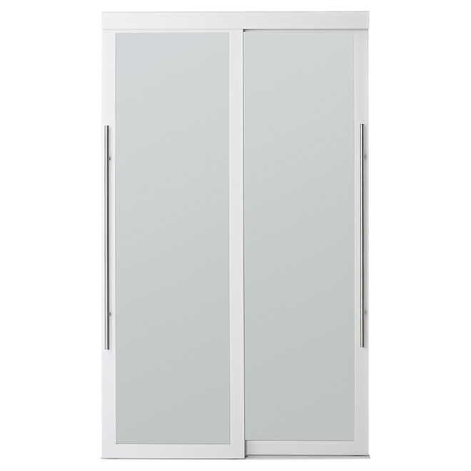"Colonial Elegance ""Lounge"" Frosted Glass Sliding Door - 60 in. x 80 1/2 in. - White"