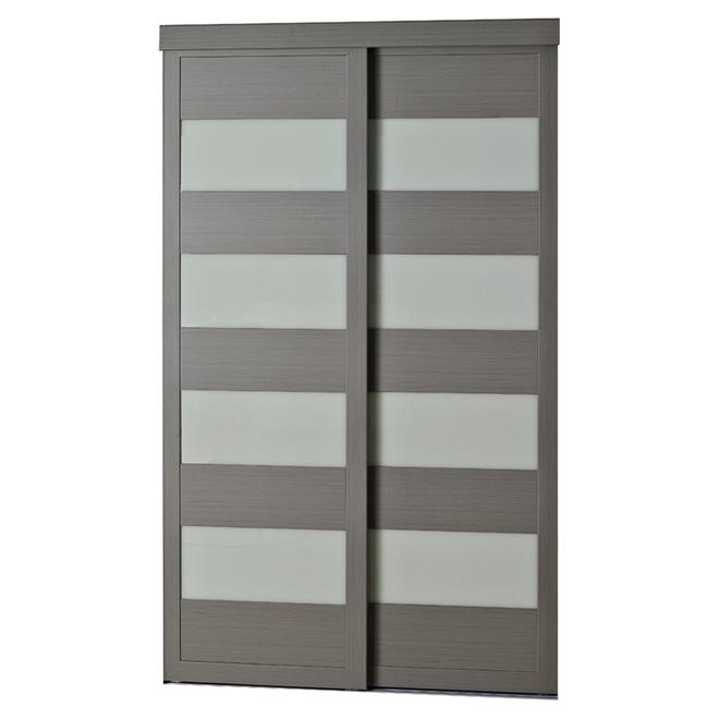 "Colonial Elegance ""4-Lite"" Frosted Glass Sliding Door - 72 in. x 80 1/2 in. - Steel Grey"