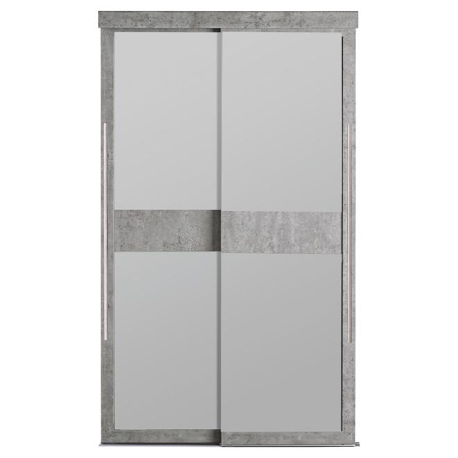 Porte coulissante en verre givré Europea Bet de Colonial Elegance, 48 po x 80 1/2 po, gris béton