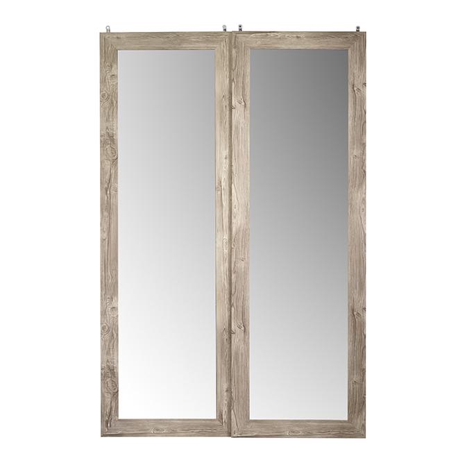 Porte coulissante en verre givré « Fusion » de Colonial Elegance, 48 po x 80 1/2 po, gris antique