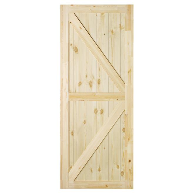 Porte de grange « Artisan », pin naturel, 37'' x 84''