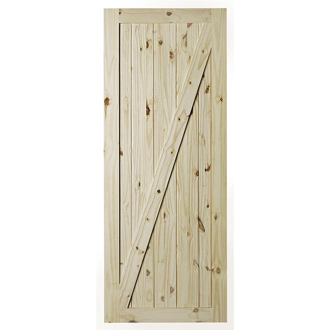 Porte de grange pour système de rail Chalet, Colonial Elegance, 33 po x 84 po, pin clair