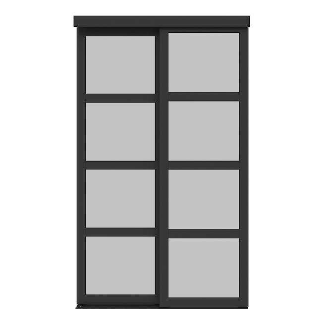 Porte coulissante Fusion Plus de Colonial Elegance, 48 po x 80,5 po, bois/verre, noir