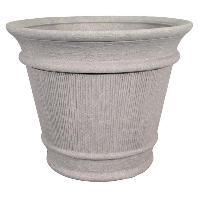 Grosfillex Planter - Indoor/Outdoor Resin - 20.35-in Grey