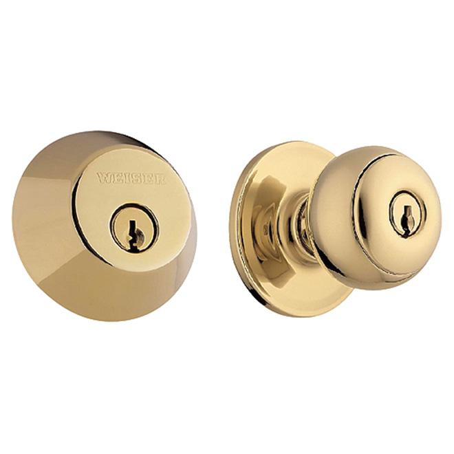 "Entrance Knob and Deadbolt - ""Yukon"" - Polished Brass"