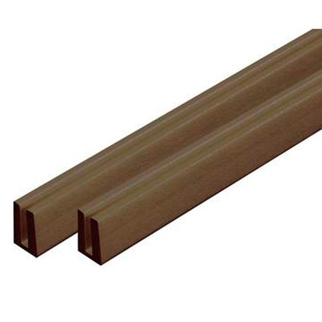 """Lattice PVC """"U"""" Moulding 3/4"""" x 1 1/4"""" x 8'-Walnut"""