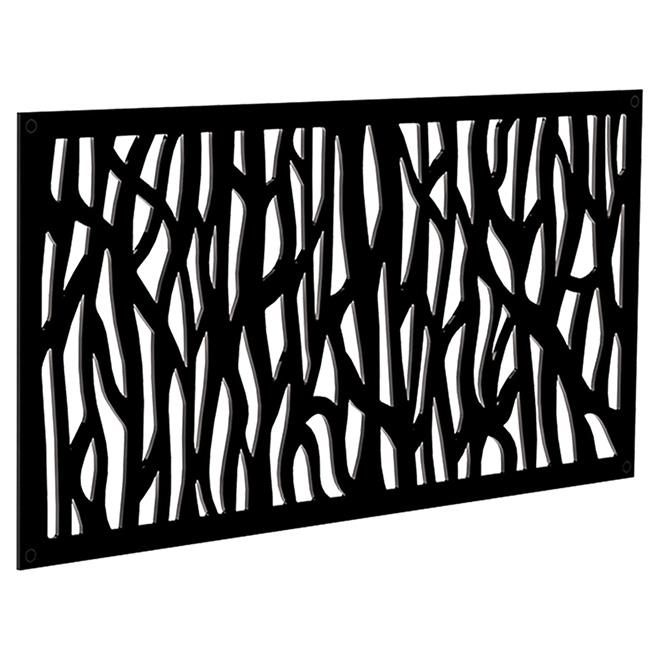 Panneau décoratif d'extérieur Sprig, 2' x 4', noir
