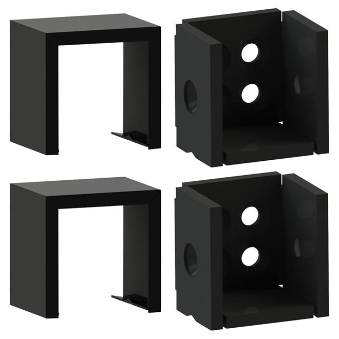 Metal Level Bracket Set - 2'' x 2'' - Black