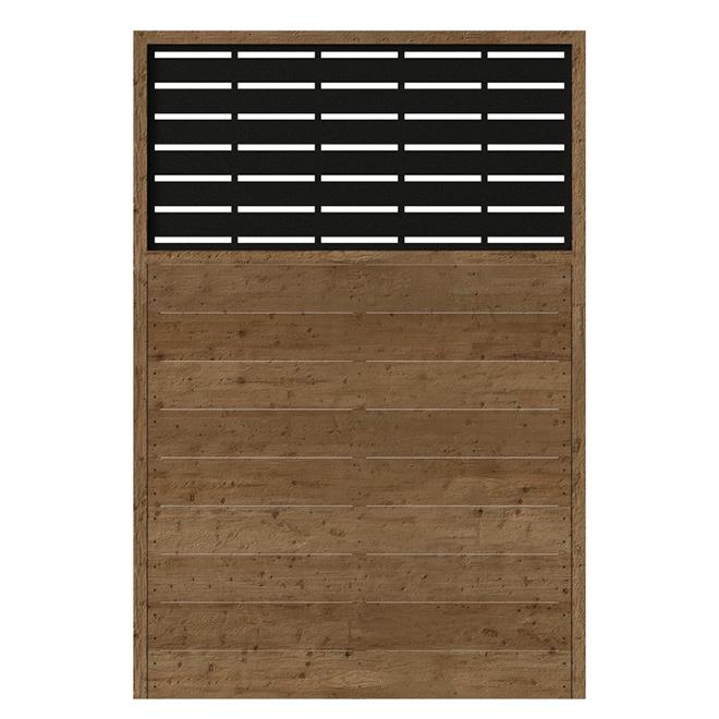 Panneau d'intimité, bois, Boardwalk, 73,5 x 49,75, brun/noir