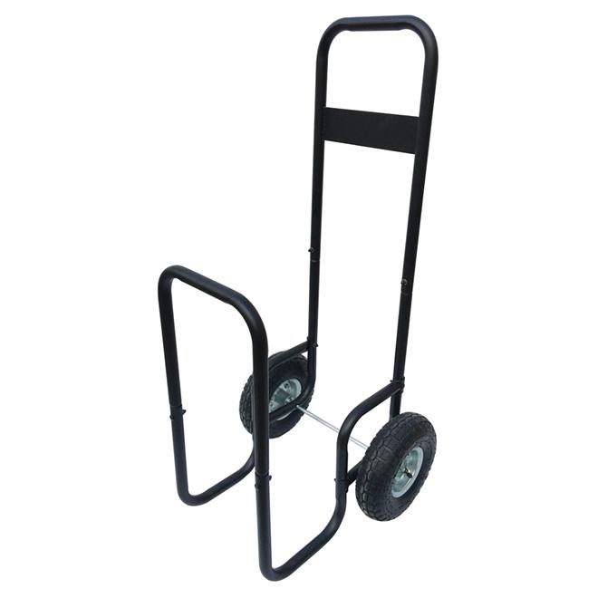Chariot à bûches en acier, 2 roues, noir