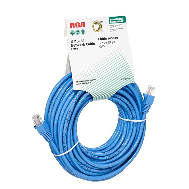 Ethernet Network Cable Cat 5e - 50' - 100 MHz - RJ45 - Blue