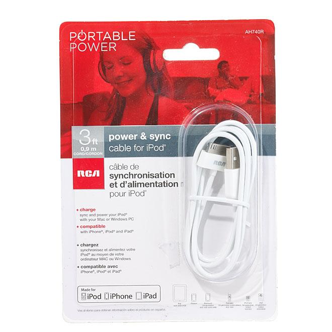 Câble de recharge 30 broches pour iPhone et iPad, 3', blanc