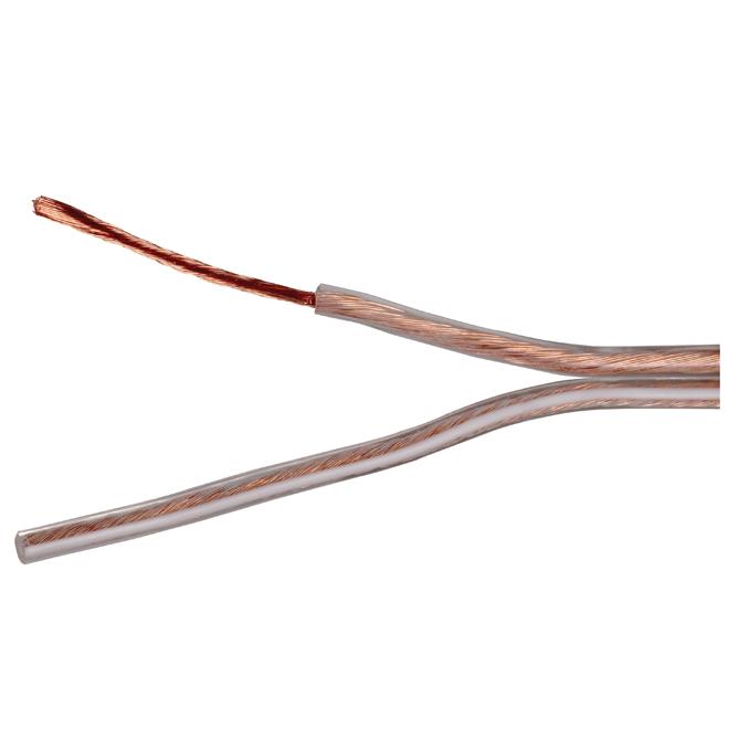Fil de haut-parleur en cuivre/PVC, 50', calibre 16, or
