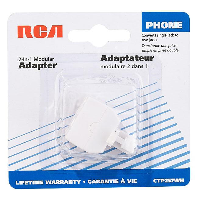 Adaptateur 2 en 1 pour prise de téléphone, RJ11 et RJ14, blanc