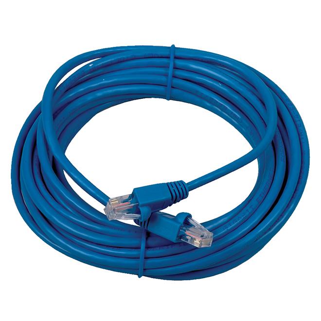 Câble réseau Ethernet Cat 5e, 25', 100 MHz, RJ45, bleu